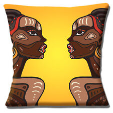 African Tribal Ladies Cushion Cover 16x16 inch 40cm Yellow Orange Ethnic Design