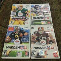 Nintendo Wii LOT MADDEN NFL FOOTBALL 09 ALL PLAY 10 11 12 2010 2011 2012 EA