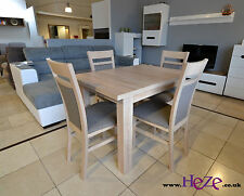 SET of extending dining table and 4 solid wood chairs, small & great!!