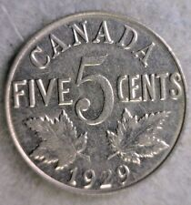 CANADA 5 CENTS 1929 XF COIN (Stock# 074)