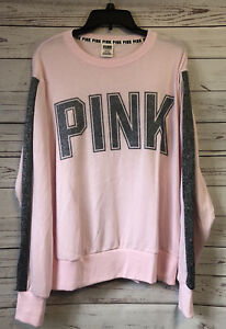 Victoria's Secret PINK Sweatshirt Long Sleeve Big Logo Women's Sz Large Bling