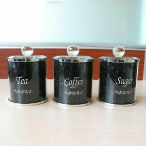 Set of 3 Diamond Crushed Crystal Filled Tea Coffee Sugar Canisters Jars Storage