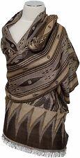 Pashmina Schal Wolle  wool scarf  écharpe foulard  Braun Beige brown