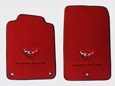 NEW! Red Floor Mats 1998-2004 Corvette Embroidered Circle Emblem Double Logo W/B