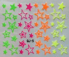 Nail Art 3D Decal Stickers Neon Stars QJ5