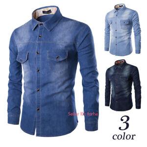 Mens Casual Jeans Shirts Cotton Demin Shirt Long Sleeve Tops Shirts Size M-6XL