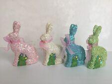 Burton & Burton Set Of 4 Sequin Resin Easter Spring Bunnies ~New~
