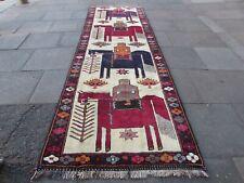 Vintage Hand Made Traditional Oriental Wool Cream Long Rug Runner 386x125cm