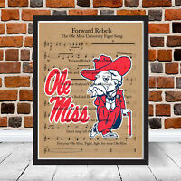 Ole Miss Forward Rebels Logo Fight Song SEC Mississippi Gift Music Football Art