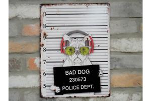 MUG SHOT BAD DOG POLICE DEPT Metal funny sign Rustic Vintage style UK SELLER