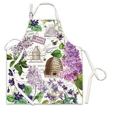 Michel Design Works Cotton Apron Lilac & Violets Bee Hive - NEW