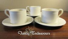 THREE Hartley Greens Leeds Pottery England Creamware Cups & Saucers