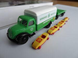 Brekina 94237 H0 Magirus LKW mit Transportanhänger und 4 Seifenkisten