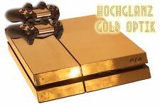 Skin PS4 Playstation 4 >> GOLD  << Design Aufkleber Schutz Folie Set Gold #7203