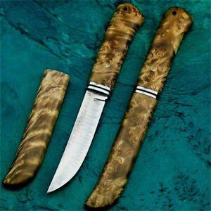Japanese Straightback Knife Mini Samurai Hunting Combat Tactical Damascus Steel