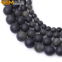 """Natural Golden Obsidian Stone Frosted Matte Round Jewelry Making Beads 15"""" DIY"""