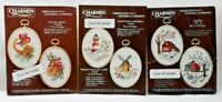 Lot 3 1990s Crewel Embroidery Ornament Kits Makes 6 Barns Windmill Holiday 7093F