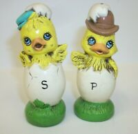 Adorable Hatching Easter Chicks with Hats Salt Pepper Shaker Set
