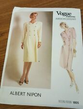 VOGUE 1805 Sewing Pattern Size 16 Albert Nipon Dress Vintage 86 UNCUT