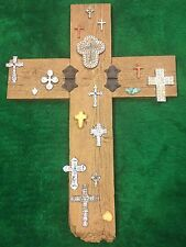Large Wall Hanging Cross w/ Mini Crosses Plaster Metal