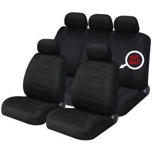 Black Mesh Full Set Front & Rear Car Seat Covers for Fiat Panda 04-On