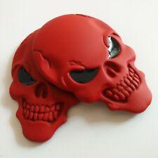 2 Pc Metal Red 3D Skull Head Emblem Badge Car Seat Backrest Sticker Fuel tank
