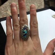 Carolyn Pollack Relios Southwestern Mosaic Stone Inlay Sterling Silver 925 Ring