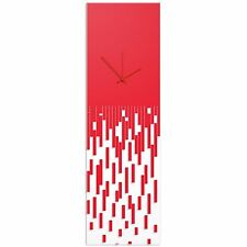 Surreal Wall Clock Techy Style Decor Abstract Accent Piece Red Transparent Clock