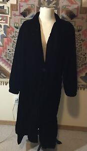 Vintage Yves Saint Laurent Rive Gauche Long Velvet Coat Black 42 Large