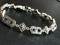 MCM Vtg JJ Judith Jack Sterling Marcasite Geometric Abstract Link Bracelet 17gr