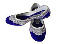 Women Shoes Indian Handmade Leather Ballerinas Blue Jutties UK 2.5-6.5 EU 35-40