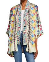 Johnny Was Bonian Kimono Jacket M Multi Color SILK Cover up Floral Bohemian NWT