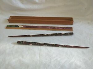 Vintage/Retro Chinese Chopsticks  with Mother of Pearl Design - Cased - Nice Set