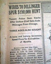 Bank Robber Outlaw JOHN DILLINGER Capture in Tucson AZ Arizona 1934 Newspaper
