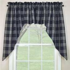 Primitive Country Black Coffee Swag Curtains 72WX36L Black Gray Cream Plaid
