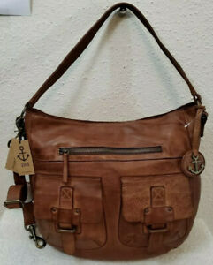 New Harbour 2nd Vintage Distressed Cognac Leather Women's Large Hobo Bag W/Strap