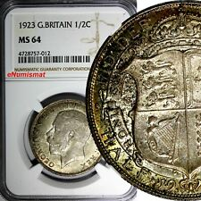 Great Britain George V Silver 1923 1/2 Crown NGC MS64 Nice Toning KM# 818.2