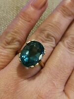 13 carat Natural LONDON BLUE TOPAZ ring solid 9ct yellow gold size N 7 VTG swiss