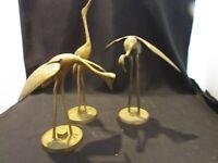 Vintage Mid Century Brass Cranes Egrets Herons Storks Birds Statue MCM 3 Pieces