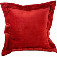 Red Chenille Euro Pillow Shams Set of TWO, Wide Edge, Thick Fabric and Lining.