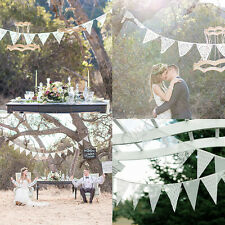 3 M Hessian Flag Banner Bunting Rustic Lace Wedding Birthday Party Decorations