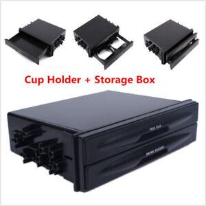 Double Din Car Dash Radio Pocket Drink Bottle Cup Holder Storage Box Universal