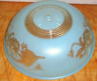 Vintage Art Deco Blue & Clear Floral Embossed 3 Chain Ceiling Fixture
