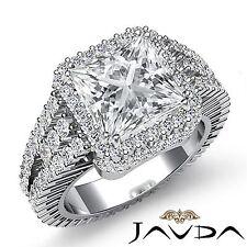 Halo Prong Set Princess Cut Diamond Engagement Ring GIA F VS2 18k White Gold 4ct