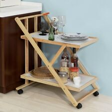 SoBuy® Foldable Wood Kitchen Serving Hostess Trolley Cart on Wheels,FKW52-WN,UK