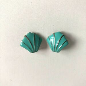Vintage Turquoise Coloured Enamel Clip On Earrings Shell Fan Shaped Retro