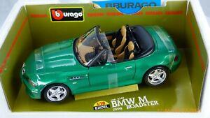 BURAGO BMW Z3 M POWER 3.2 ROADSTER 1:18 PALMETTO GREEN INDIVIDUAL RARE TOY CAR