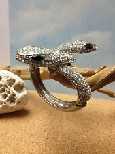 Twin SNAKES  Womens  BANGLE CUFF  Silver  BRACELET  Sparkling White Stones   NEW