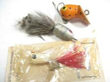 3 Old fly rod fishing lures Peck's new on card + 2 others