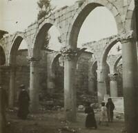 Moyen-Orient Eglise en ruine Photo Stereo Vintage Plaque Verre VR2L3n2